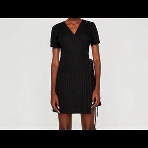 Zara Short Sleeve Ribbed Wrap Dress